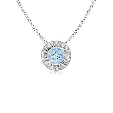 Angara Round Aquamarine and Diamond Circle Pendant 3CsqaNnb