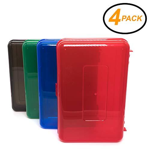 Emraw Pencil Box - Multipurpose Utility Box Pencil case Plastic Pencil Boxes for School Multi Function Pen Box Small Pencil Box, Long-Lasting Hard Plastic Pencil Boxes (Random 4-Pack) (Small Utility Box)