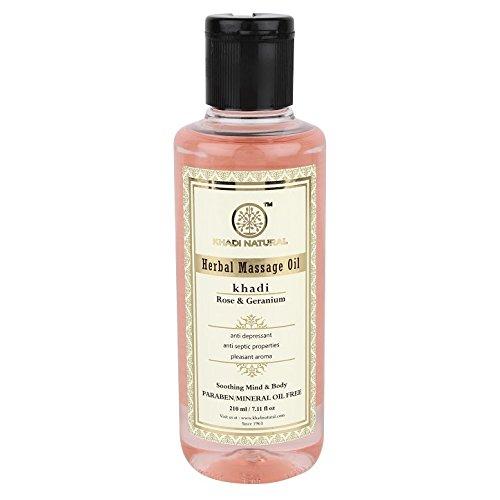 Ayurvedic Body Oil (Khadi Natural Herbal Ayurvedic Rose and Geranium Body Massage Oil (210 ml))