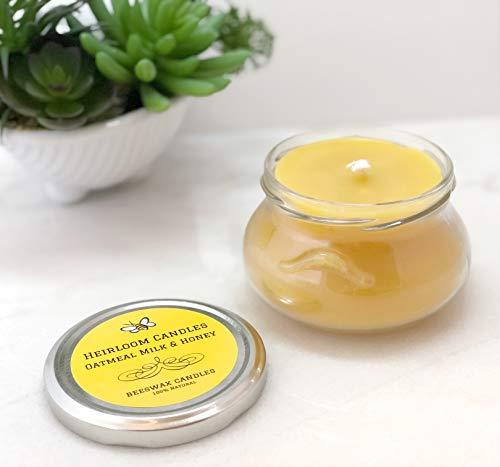 Oatmeal Milk & Honey Beeswax Candle - Pure Organic Beeswax, Vanilla Honey Candle - Handmade, 6oz -