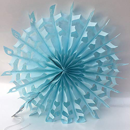 Dds5391 New Hollow Tissue Hanging Snowflake Paper Fans Home Garden Wedding Wall Decoration - Light Blue from dds5391