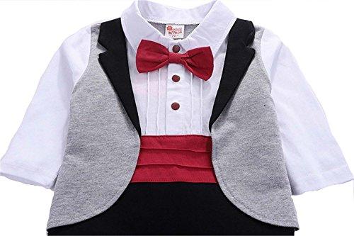 Angelchild Baby Boys Tuxedo Gentleman Onesie Romper Jumpsuit Formal Wedding Suit