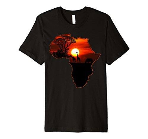 Mens Africa T Shirt Map of Africa South African Big Five Safari Large Black by Africa T-Shirt Map Of Africa Shirt African Sunset