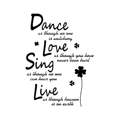Lowprofile Dance Love Sing Live Removable Art Vinyl Mural Home Room Decor Wall Stickers (Dance Love Sing Live(60cm x 45cm), Free)