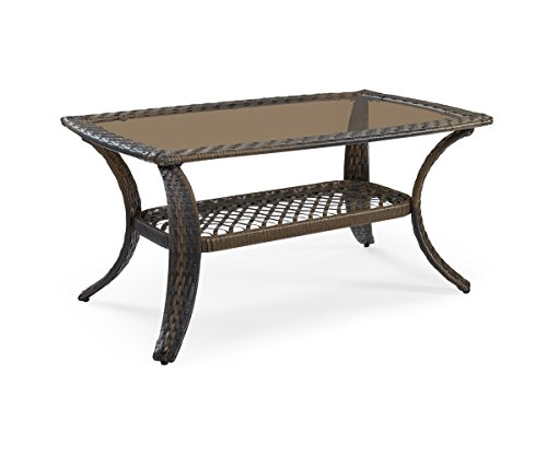 Ulax Furniture Patio Outdoor Wicker Rectangular Coffee Table, Brown