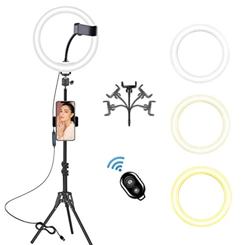 """10.2"""" LED Selfie Ring Light with Tripod Stand and Phone Holder for Live Stream Tiktok YouTube Video Photography Make Up Ringlight Tripod Camera Phone Tripod Stand Compatible for iPhone Android"""