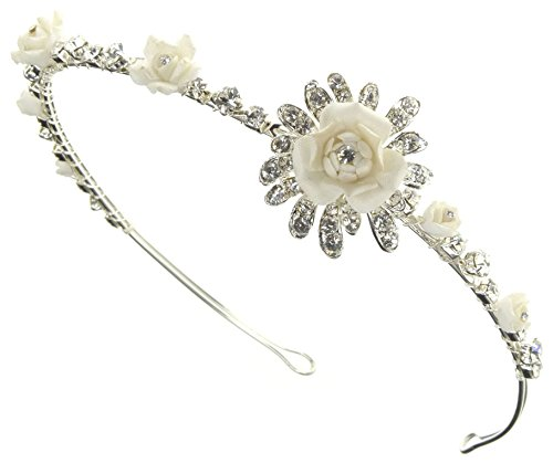 (Enchanting Bridal Headband Tiara of Porcelain Rosettes and Austrian Rhinestone for Wedding, Prom, Quinceañera or Other Special Events #86JH1iv )