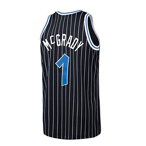 (Plkhey Mens McGrady Jersey Retro Orlando Tracy Adult #1 Basketball Sizes Black (Black,)