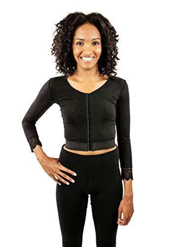 Post Surgery Upper Body Quarter Sleeve Compression Vest for Women Black (S24V) (Quarter Compression Sleeve)