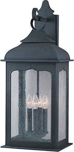 (Troy Lighting Henry Street 4-Light Outdoor Wall Lantern - Colonial Iron Finish with Clear Seeded Glass )