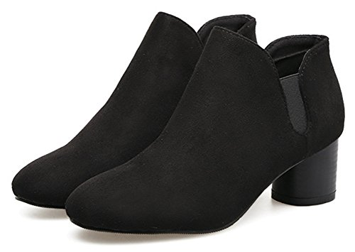 Easemax Women's Trendy Faux Suede Mid Chunky Heel Slip On Ankle High Boots Black 5flu8qwpZ