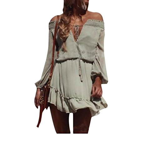 Shoulder Sheer Casual Sleeve Long As1 Dress Accept Women Off Waist Coolred FRwZYqn