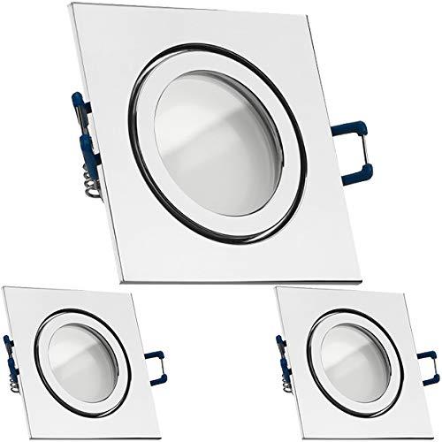 3er-Set 3er IP44 LED Einbaustrahler Set Chrom mit LED GU10 Markenstrahler von LEDANDO - 5W - warmweiss - 120° Abstrahlwinkel - Feuchtraum Badezimmer - 35W Ersatz - A+ - LED Spot 5 Watt - Einbauleuchte eckig