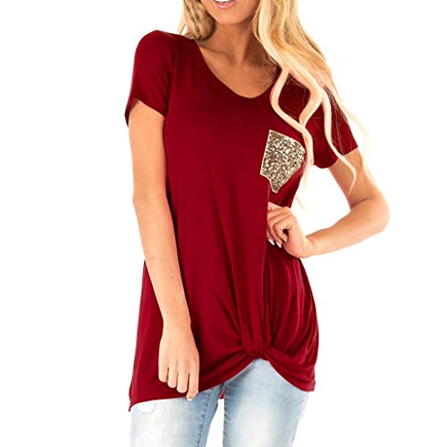 (Sunhusing Women's Casual V-Neck Leopard Print Pocket Stitching Short-Sleeve T-Shirt Slim Versatile Top)