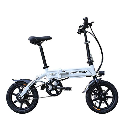 KASIQIWA Bicicleta eléctrica Plegable, 14 Pulgadas Ultraligera Rueda de Litio de 36 V con Bloqueo antirrobo Faros LED + Bocina Mini de Altura Ajustable para Adultos,White por KASIQIWA