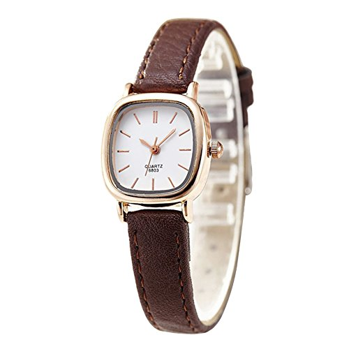 Gets Women Small Wrist Watches Leather Strap Unique Simple Square Watch Analog Classic Watch for Valentine's Gift (Brown strap gold case)