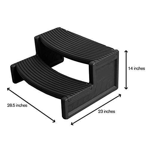 Confer Plastics Resin Multi Purpose Spa Hot Tub Handi-Step Steps, Black (2 Pack)