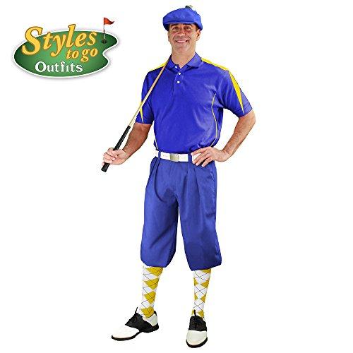 メンズゴルフOutfit – ロイヤル、イエロー、&ホワイトゴルフKnicker Complete Outfit