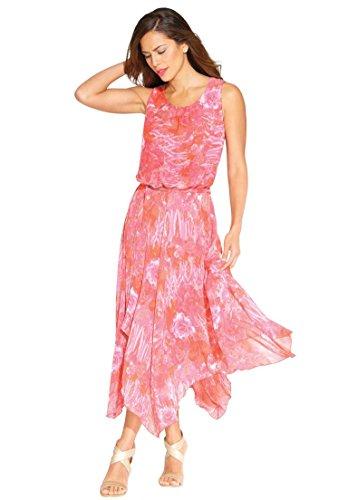 Hankie Hem Dress (Roamans Women's Plus Size Hankie Hem Print Dress Berry Print,18)