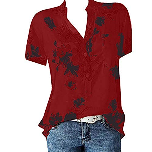 (Lovor Plus Size Women's Summer Short Sleeve V Neck Henley Shirts Floral Print Casual Loose Chiffon Flowy Blouse T Shirt Top (Wine,XXL))
