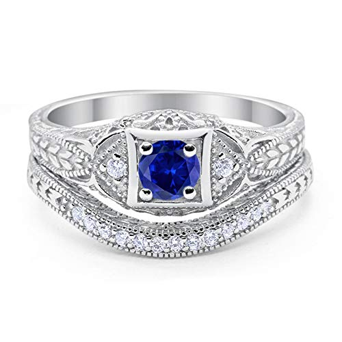 Art Deco Vintage Style Two Piece Wedding Engagement Bridal Set Ring Band Round Simulated Blue Sapphire CZ Cubic Zirconia 925 Sterling Silver Size-5