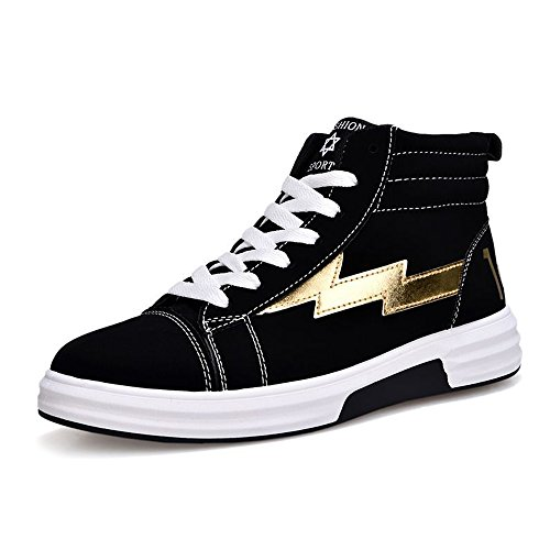 Easy Go Shopping Casual Men's Outsole Flat Shoes Boys Lace up High Top PU Leather Sneakers Cricket Shoes Gold XPS1zMK