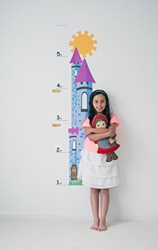 Kid's Growth Chart For Wall – Princess Castle Decal- Low-Tac Vinyl Adhesive Children's Room Wall Décor/Nursery Décor