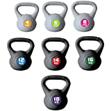 Meteor Basics PVC Encased Kettlebell - Great for Full Body Workout and Strength Training Weightlifting (4/6/8/10/12/14/16/18KG)