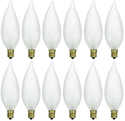 Pack of 12 40 Watt CFF Candelabra Base Frosted Flame Tip Shaped Incandescent Chandelier Light Bulb