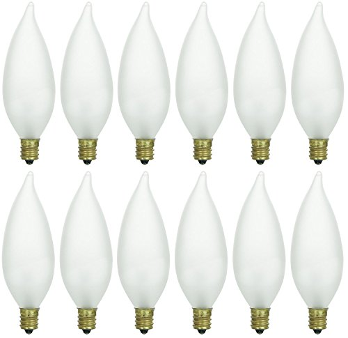 Pack of 12 60 Watt CFF Candelabra Base Frosted Flame Tip Shaped Incandescent Chandelier Light Bulb
