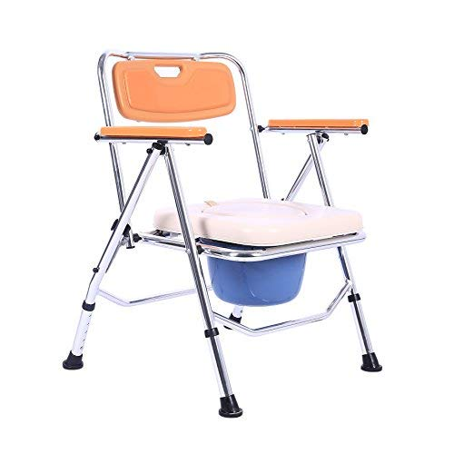 SUKONG Aluminum Portable Foldable Bedside Commode with Toilet Style Seat and Cover (Orange)