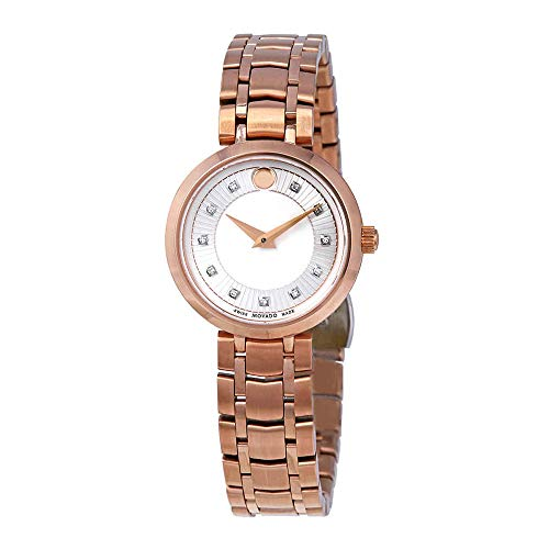 Movado 1881 Diamond Silver Dial Rose Gold PVD Ladies Watch 0607100