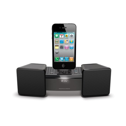 Iluv Ipod Stereo Docking - iLuv iMM286BLK Stereo Speaker Dock for iPhone/iPod, Black