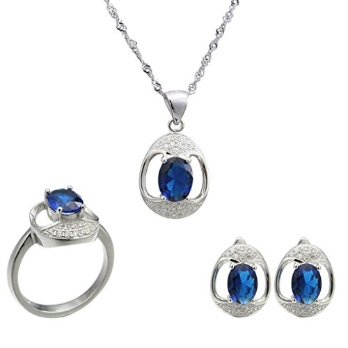 Aooaz Womens Jewelry Set, Blue Oval CZ Crystal Hollow Retro Wedding Ring Necklace Earrings Eternal Love by Aooaz