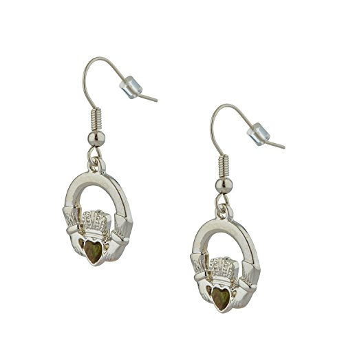 [S33532] Claddagh Drop Earrings Rhodium Plated with Irish Connemara Marble