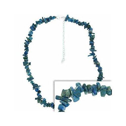 Glitzs Jewels Sterling Silver Genuine Blue Denim Lapis Chip Necklace ()