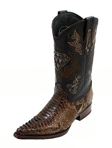 ne Python Skin Leather Cowboy Western Boots_Brown_9 (Python Skin Leather)
