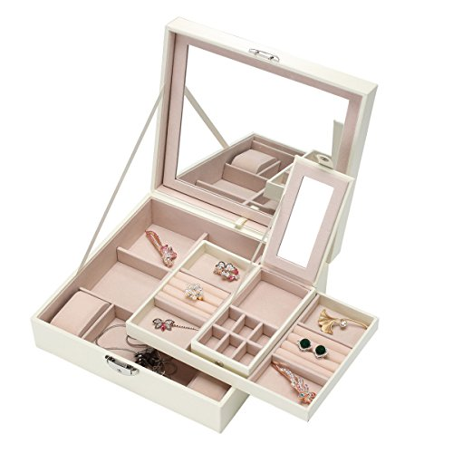 Pasutewel Jewelry Organizer,Leather Lockable Jewelry Box with 1 Tray 2 Mirrors for Women and Girls Earring Ring Necklace Bracelet & Watch Organizer