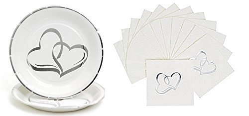 50 Two Hearts Wedding plates + 50 Matching Two Hearts Napkins