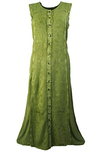 Guru Lange Kleider Besticktes Shop Damen Indisches Alternative Bekleidung Kleid Mint Synthetisch Hippie amp; Midi ggpSrwq