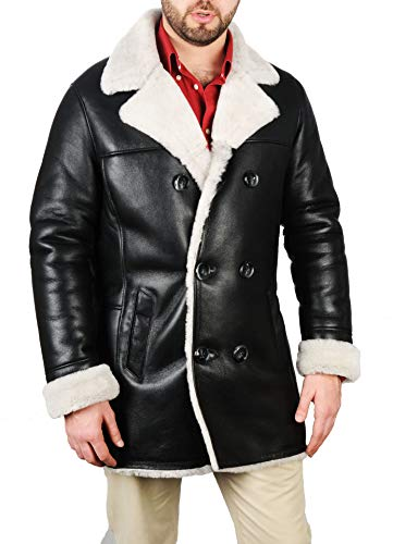 Men's Bomber Shearling Black Leather Jacket Genuine RAF B3 Sheepskin (Black-Model1, L)