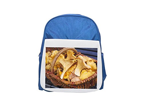 Close-up of edible mushrooms in a wicker basket printed kid's blue backpack, Cute backpacks, cute small backpacks, cute black backpack, cool black backpack, fashion backpacks, large fashion backpacks,