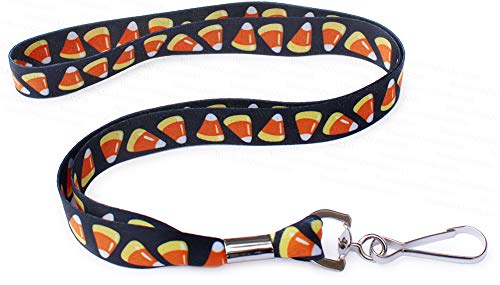 Candy Corn Halloween Neck Lanyard for October Holiday - Key or Badge ID -