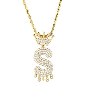 Best Epic Trends 41vplAJdzvL._SS300_ HECHUANG Initial Letter Pendant Necklace Women Simulated Diamond Name Chain Necklace Gold Silver Rope Chain