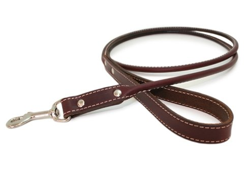 Round - Rolled Leather Dog Leash - 8 colors