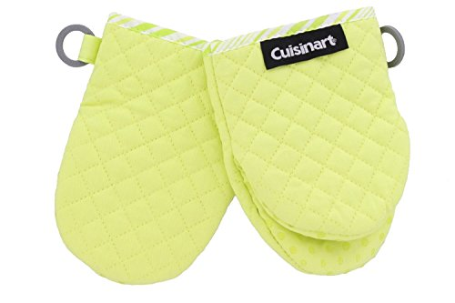 Cuisinart Quilted Mini Kitchen Oven Mitts/Gloves w/Silicone for Easy Gripping, Heat Resistant up to 500 degrees F- Lime Green w/Green Stripes by Cuisinart