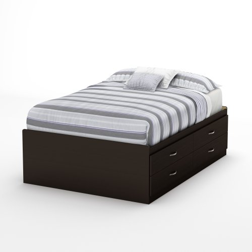 South Shore 3159209 Step One Collection Full Captain's Bed, Chocolate (Full Size Captains Bed With Under Bed Storage)