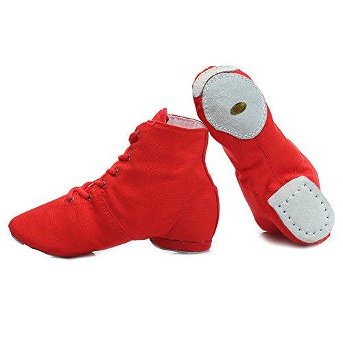 HROYL Damen Sneaker Tanzschuhe Moderne Tanzschuhe jazzdance Schuhe Fitness Halbschuhe Sportschuhe Turnschuh Modell Jazz Rot