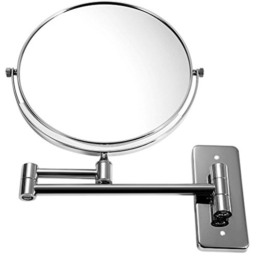 8Inch Cosmetic Mirror Double Sides Wall Mounted Mirror Chrome Bathroom Mirror Europe Style Mirror Elegant Design With 360 (Veneer Walnut Strips)