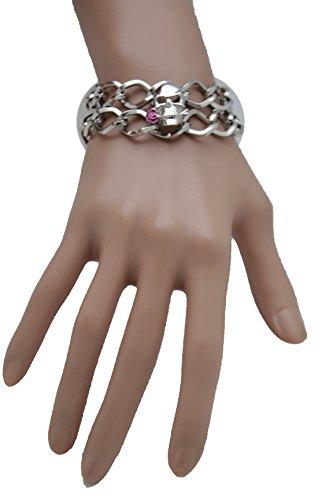 TFJ Women Silver Metal Chain Wrist Fashion Bracelet Skeleton Skull Charm Pink Rose Flower Jewelry (Biker Dude Halloween Costume)
